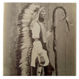 Portrait of a Native American from 'Buffalo Bill's Tile