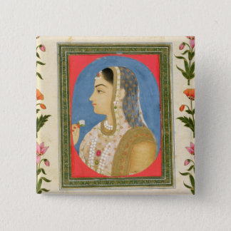 Portrait of a noble lady, from the Small Clive Alb 2 Inch Square Button