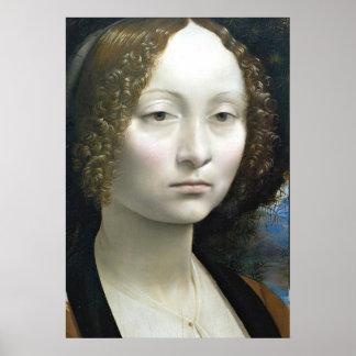 Portrait of a noblewoman zoom by Leonardo da Vinci Poster