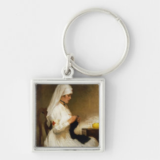 Portrait of a Nurse from the Red Cross Silver-Colored Square Keychain