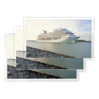 Portrait of a Passing Cruise Ship Acrylic Tray