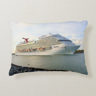 Portrait of a Passing Cruise Ship Decorative Pillow