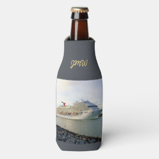 Portrait of a Passing Cruise Ship Monogrammed Bottle Cooler