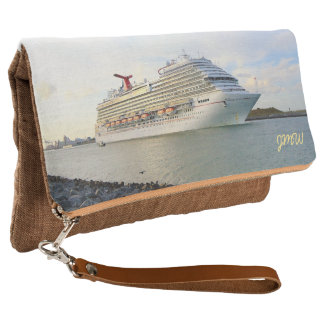 Portrait of a Passing Cruise Ship Monogrammed Clutch