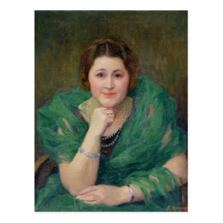 Portrait of a Russian Woman with a Green Scarf Postcard