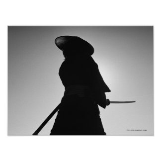 Portrait of a Samurai warrior holding a sword Poster