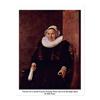 Portrait Of A Seated Woman Wearing White Gloves Postcard