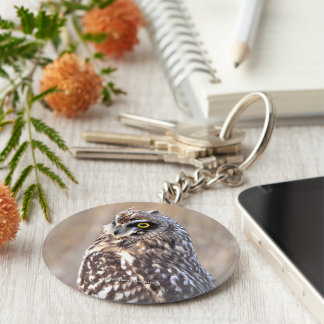 Portrait of a Short-Eared Owl Keychain