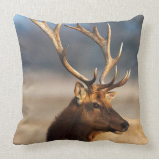 Portrait of a stunning bull elk throw pillow