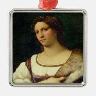 Portrait of a Woman, 1512 (oil on canvas) Silver-Colored Square Ornament