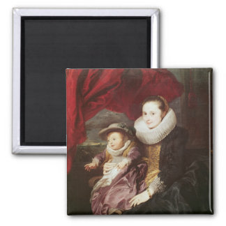 Portrait of a Woman and Child Square Magnet