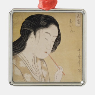 Portrait of a Woman Silver-Colored Square Ornament