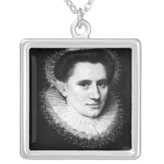 Portrait of a woman silver plated necklace
