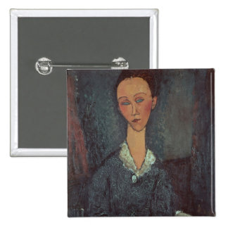 Portrait of a Woman with a White Collar (oil on ca 2 Inch Square Button