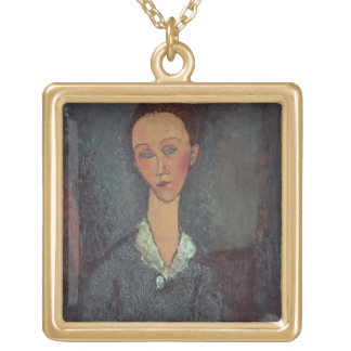 Portrait of a Woman with a White Collar (oil on ca Gold Plated Necklace