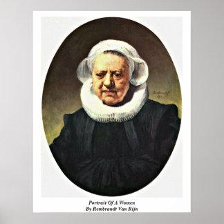 Portrait Of A Women By Rembrandt Van Rijn Posters