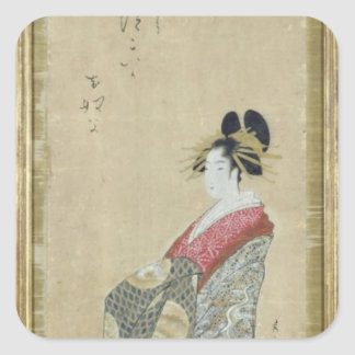Portrait of a young courtesan square sticker
