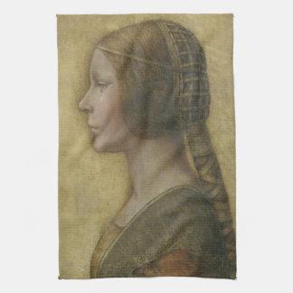 Portrait of a Young Fiancee by Leonardo da Vinci Kitchen Towel
