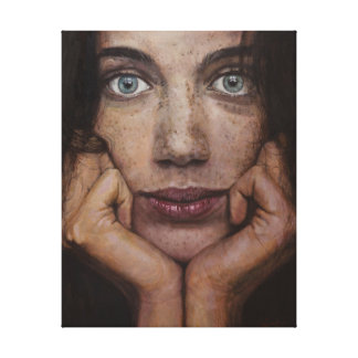 Portrait of a young girl with beautiful blue eyes canvas print