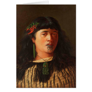 'Portrait of a Young Maori Woman with Moko' Card