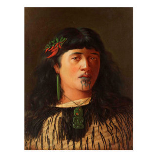 'Portrait of a Young Maori Woman with Moko' Postcard