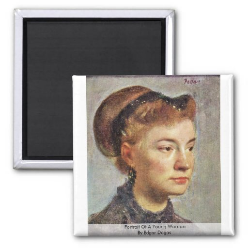 Portrait Of A Young Woman By Edgar Degas Refrigerator Magnets