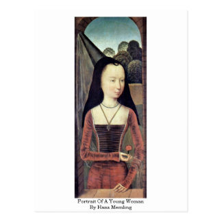 Portrait Of A Young Woman By Hans Memling Postcard