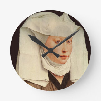 Portrait of a Young Woman in a Pinned Hat, c.1435 Wall Clock