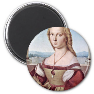 Portrait Of A Young Woman With A Unicorn Magnet