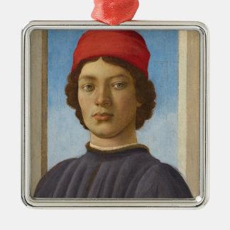 Portrait of a Youth, c.1485 (oil & tempera) Silver-Colored Square Ornament
