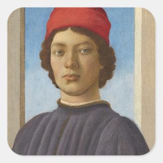 Portrait of a Youth, c.1485 (oil & tempera) Square Sticker