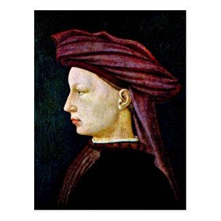 Portrait of a youth in profile by Masaccio Postcard