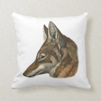Portrait of Abyssinian Wolf Throw Pillow