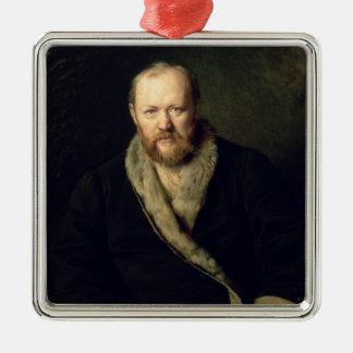 Portrait of Aleksandr Ostrovsky  1871 Silver-Colored Square Ornament