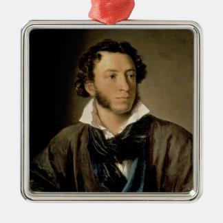 Portrait of Alexander Pushkin Silver-Colored Square Ornament