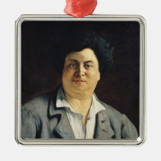 Portrait of Alexandre Dumas pere , 1878 Silver-Colored Square Ornament