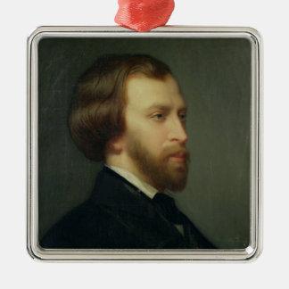 Portrait of Alfred de Musset Silver-Colored Square Ornament