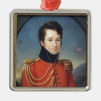 Portrait of Alfred de Vigny Silver-Colored Square Ornament