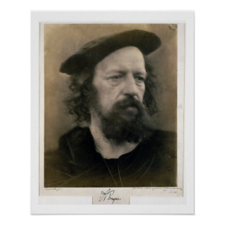 Portrait of Alfred, Lord Tennyson (1809-92) (b/w p Poster