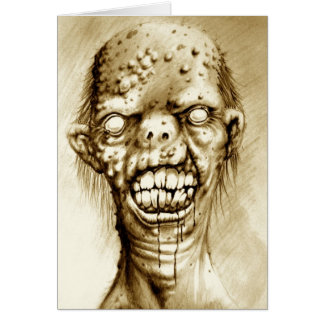 portrait of an irradiated zombie with a cleft lip cards