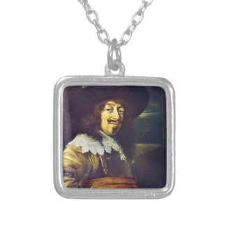 Portrait of an Officer by Frans Hals Silver Plated Necklace