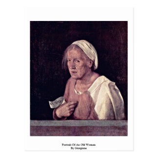 Portrait Of An Old Woman By Giorgione Postcard