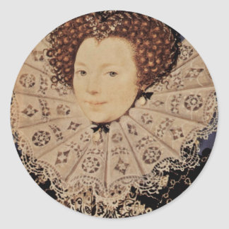 Portrait Of An Unknown Lady Oval By Nicholas Hilli Classic Round Sticker