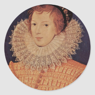 Portrait Of An Unknown Woman By Nicholas Hilliard Classic Round Sticker