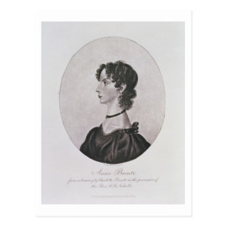 Portrait of Anne Bronte (1820-49) from a drawing i Postcard
