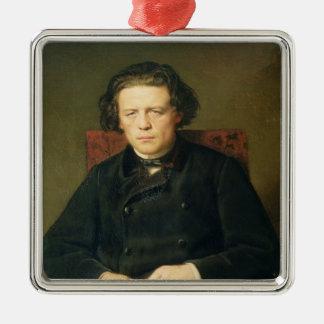 Portrait of Anton Rubinstein  1870 Silver-Colored Square Ornament