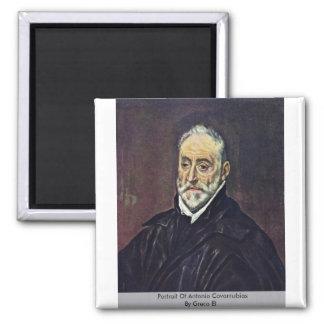 Portrait Of Antonio Covarrubias By Greco El Square Magnet