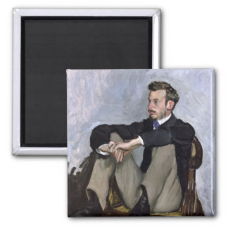 Portrait of Auguste Renoir , 1867 Square Magnet