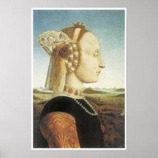 Portrait of Battista Sforza, c. 1474 Poster