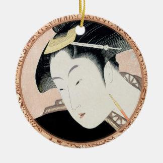 Portrait of beauty Shinobu Kitagawa Utamaro geisha Round Ceramic Ornament